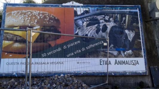 TRENTO - AFFISSIONE MANIFESTI 6 X 3 SUL TEMA DEL VEGANISMO dal 23 marzo al 6 aprile 2015. Via Giusti, Piazzetta da Vinci, Viale Degasperi 10