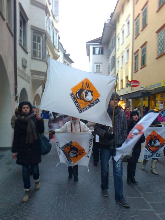 Bolzano 04.02.2012 manifestazione contro lo sfruttamento degli animali 215