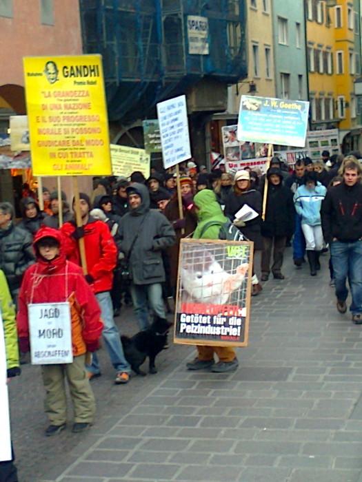 Bolzano 04.02.2012 manifestazione contro lo sfruttamento degli animali 246