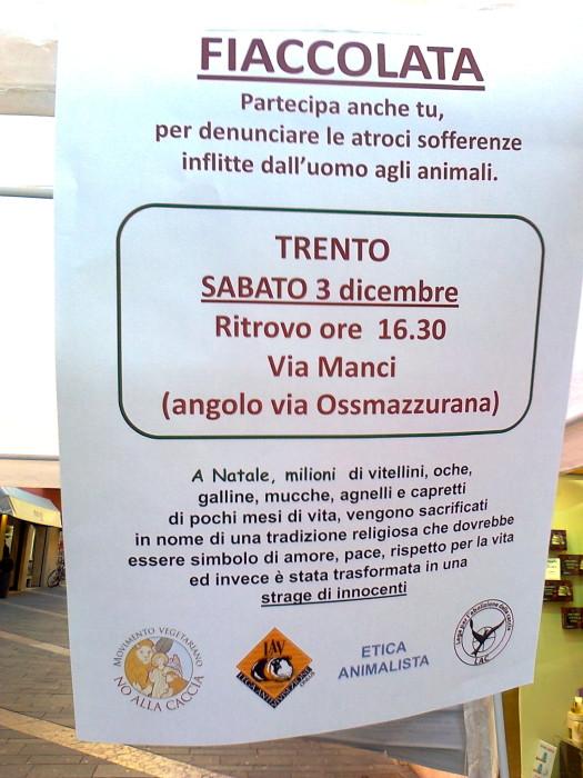 TRENTO - TAVOLO INFORMATIVO CONTRO IL COMMERCIO DI PELLICCE E PIUMINI D'OCA 136