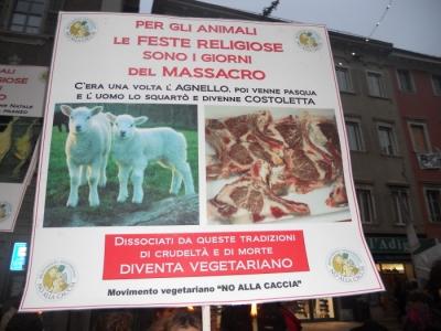 03 dicembre 2011 Trento fiaccolata per denunciare lo sterminio degli animali nel periodo natalizio (e non solo!) 12