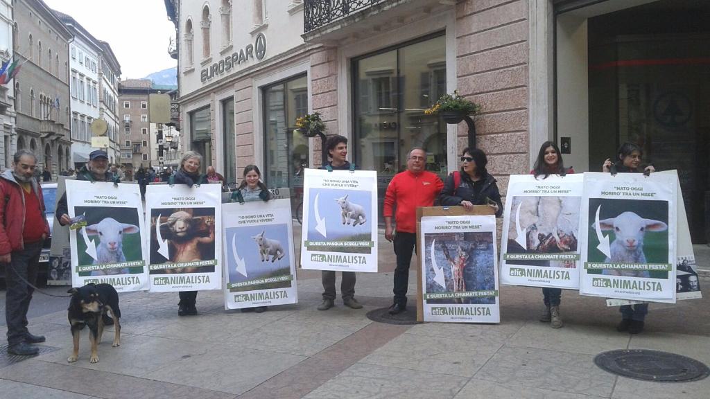 Manifestazione a Trento in difesa degli agnelli a Pasqua 24-25-26 Marzo 22