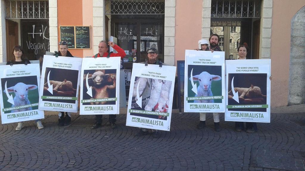 Manifestazione a Trento in difesa degli agnelli a Pasqua 24-25-26 Marzo 23