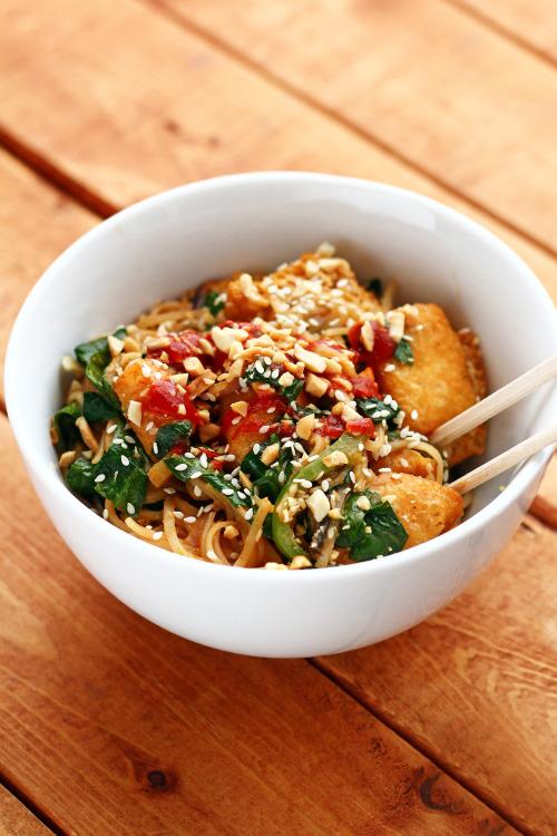 garden-of-vegan: Deep-fried tofu veggie rice noodle stir-fry... 2