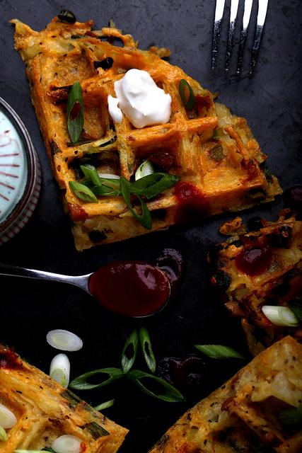 circle-v: Loaded Baked Potato Hash Brown Waffles 2
