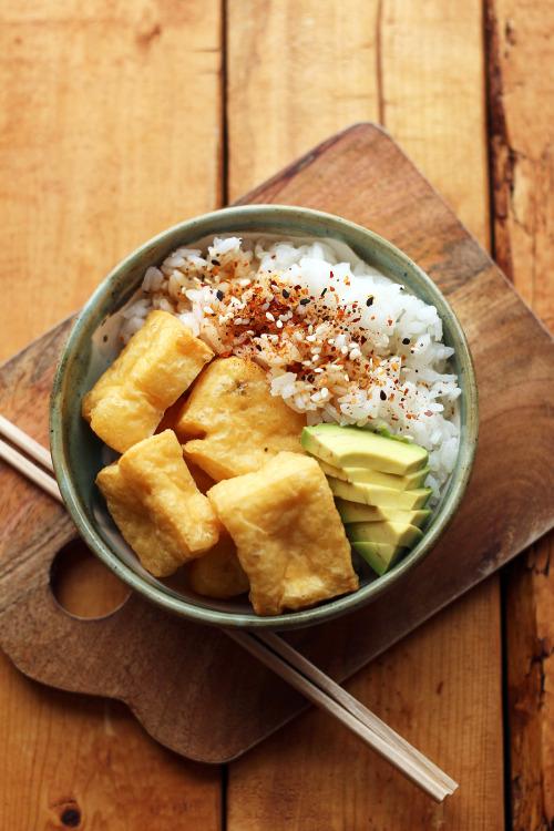 garden-of-vegan: Deep-fried tofu puffs, sliced avocado, and... 12