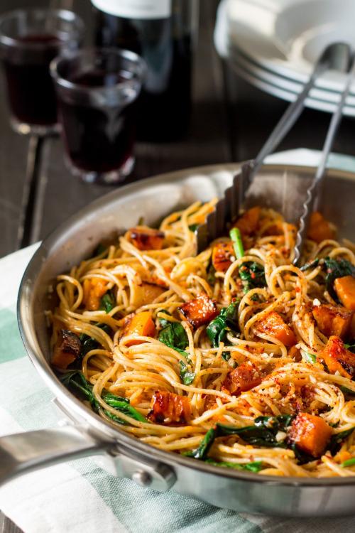 vegan-yums: Pumpkin, spinach and walnut spaghetti / Recipe 2