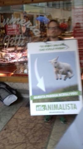 Manifestazione di protesta contro il massacro Pasquale degli agnelli e capretti 15 Aprile 2017 7