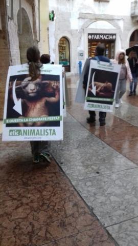 Manifestazione di protesta contro il massacro Pasquale degli agnelli e capretti 15 Aprile 2017 8