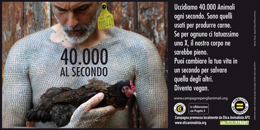 40.000 al secondo, sono gli animali che uccidiamo per l'alimentazione. Campagna pro veganismo 2