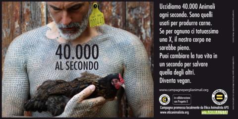 40.000 al secondo, sono gli animali che uccidiamo per l'alimentazione. Campagna pro veganismo 1