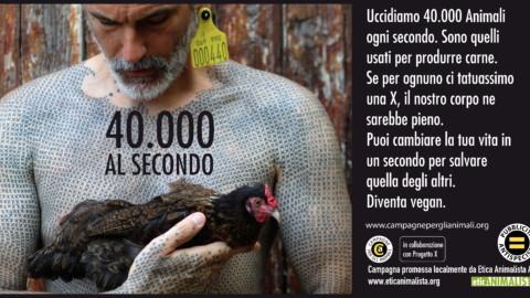 40.000 al secondo, sono gli animali che uccidiamo per l'alimentazione. Campagna pro veganismo 12